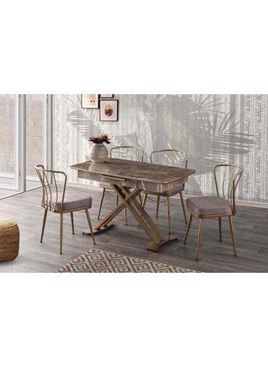 Sweet Home Sweet Home Milano AÇılır Ayak Masa ve 6 Adet Ekose Desenli Sandalye Takım Renkli